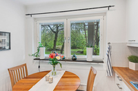 Utsikt mot grönskan från köksfönstret